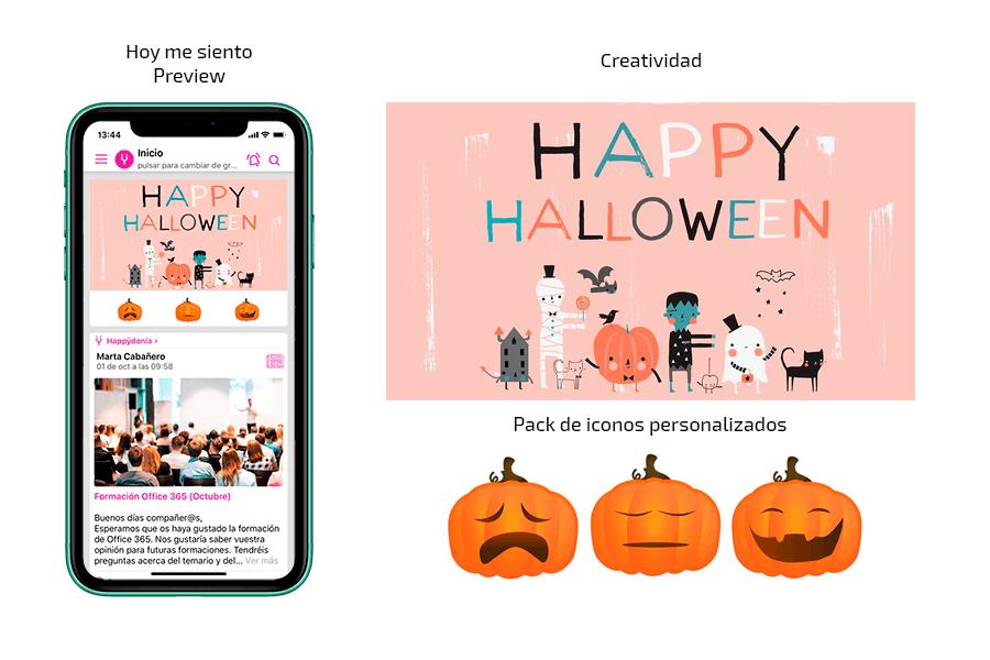 Ej. Creatividad + Iconos personalizados + Preview de acción de comunicación interna para Halloween con Happÿdonia